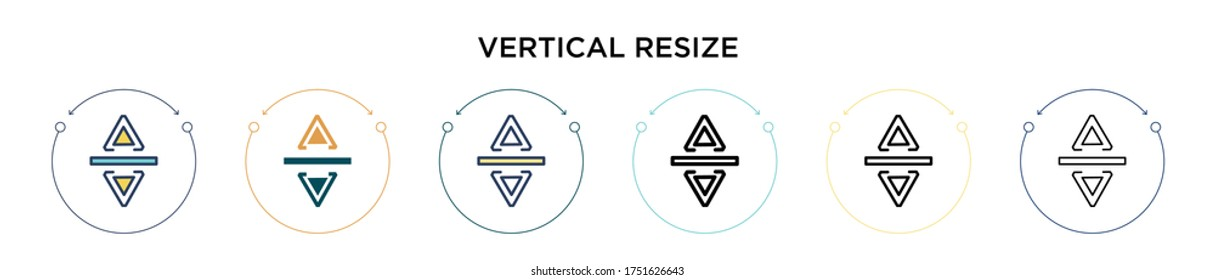 Vertical resize icon in filled, thin line, outline and stroke style. Vector illustration of two colored and black vertical resize vector icons designs can be used for mobile, ui, web