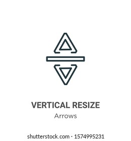 Vertical resize outline vector icon. Thin line black vertical resize icon, flat vector simple element illustration from editable arrows concept isolated on white background