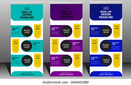 Vertical Roll up banner design template, Modern x-banner design,