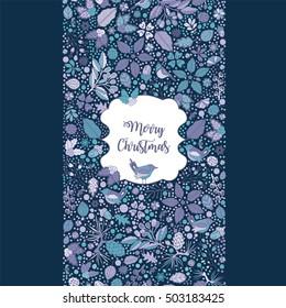Vertical seamless border card. Merry Christmas.