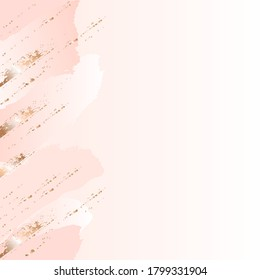 Vertical seamless border. Pastel color spots and golden brush, strokes on a nude background. Vector abstract background. Design template for banner, card, cover, poster.