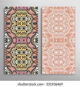 Vertical seamless floral geometric lace patterns set with hand drawn texture for Wedding, Bridal, Valentine's day or Birthday Invitations, fabric or paper print. Vector collection