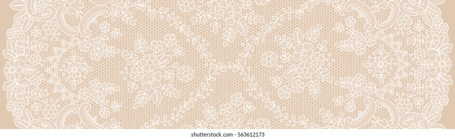 Vertical seamless floral lace pattern on beige background