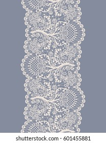 Vertical seamless floral lace pattern on gray background