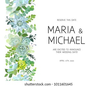 Vertical seamless line garland with baby blue eucalyptus, succulents,green hydrangea, wildflowers, various plants, leaves and herbs. Natural card or frame. Banner stripe. All elements are isolated.