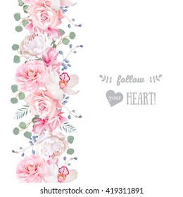 Vertical seamless line garland with camellia, rose, peony, eucalyptus leaves and orchid. Cute wedding floral vector design frame. Banner stripe element.