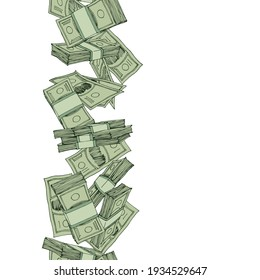 vertical seamless money pattern, paper banknotes, pile of bucks, financial capital, color vector illustration with green contour lines isolated on white background in doodle and hand drawn style