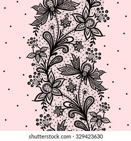 Vertical seamless pattern. Black Lace.