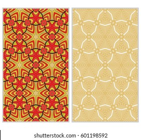 Vertical seamless patterns set, abstract floral geometric texture. Ornament for interior design, greeting cards, birthday or wedding invitations, paper print. Ethnic background in east style.