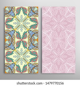 Vertical seamless patterns set, floral geometric lace texture for Wedding, Valentine's day, greeting card or Birthday Invitation. Decorative seamless doodle backgrounds. Ethnic ornament border pattern