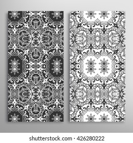 Vertical seamless patterns set, floral geometric lace texture for cards or invitations. Decorative seamless backgrounds collection, tribal ethnic ornament. Black and white