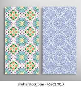 Vertical seamless patterns set, floral geometric lace texture for Wedding, Bridal, Valentine's day, greeting cards or Birthday Invitations. Decorative seamless backgrounds, tribal ethnic ornament