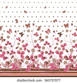 Vertical Seamless pink brown floral pattern with strawberries and flowers and translucent butterflies. Hand drawn texture for clothes, bedclothes, invitation, card design etc.