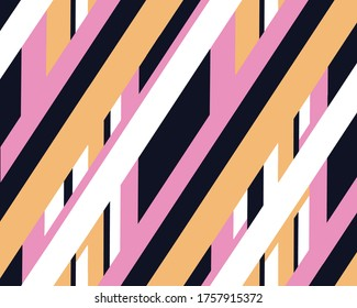 Vertical seamless stripes vector pattern. diagonal stripes pattern. Irregular lines design for fashion and interior textiles. Trendy Black pink orange and white stripes.