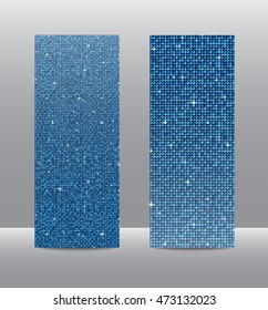 Vertical set of blue sequins banners template for business design, infographics. Vector illustration eps10. Mosaic, sequins, glitter, sparkle, stars.
