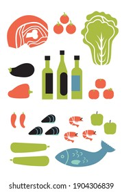 Vertical set of food. Fruits, vegetables, dressings, seafood, meat on a white background.
