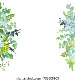 Vertical sides botanical vector design banner. Baby blue eucalyptus, succulents,green hydrangea, wildflowers, various plants, leaves and herbs.Natural card or frame. All elements are isolated