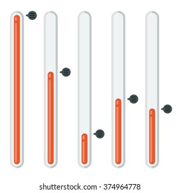 Vertical sliders with level indicator. Vector illustration.