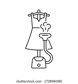 Vertical steamer ironing woman's dress with hot air. Line art illustration of electric laundry equipment. Floor steam generator, flexible hose, hanger, nozzle. Contour isolated vector pictogram