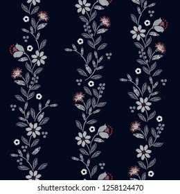 Vertical stripe Embroidery seamless pattern with beautiful wild flowers delicate vector print  illustration design for fashion ,fabric,wallpaper,cover,web, and all prints on navy blue background color