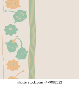 Vertical striped  seamless  pattern with pumpkins . Hand drawn.
