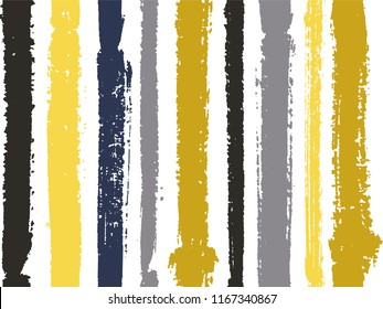 Vertical stripes of gold black gray thick and thin paint ink lines seamless vector pattern on white. Brush stroke stripes vertical pattern for clothes textile fabric. Grunge striped cool ink line art.
