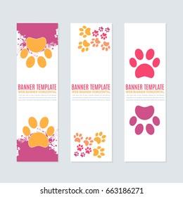 Vertical Style Petshop Ad Minimalistic White Background Web Banner Set