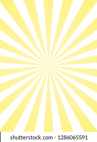 Vertical sunlight  background. Powder yellow color burst background. Vector illustration. Sun beam ray sunburst pattern background. Retro bright backdrop.