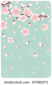 Vertical template with cherry blossom, spring flowers, falling petals. Retro vector illustration. Place for your text. Design for invitation, banner, card, poster, flyer
