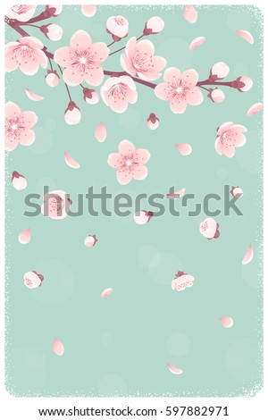 vertical template cherry blossom spring flowers のベクター画像素材