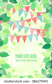 Vertical template with fresh green spring leaves and multicolored party flags. Retro vector illustration. Bokeh background. Place for your text. Design for invitation, banner, card, poster, flyer