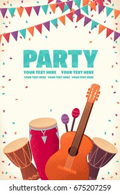 Vertical template with guitar, percussion and conga drums, maracas, flags, confetti. Retro vector illustration. Design for invitation, poster, card, flyer, banner. Place for your text