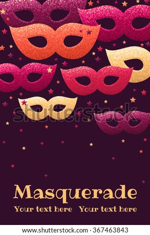 vertical template with masquerade masks and colorful stars retro vector illustration design for invitation