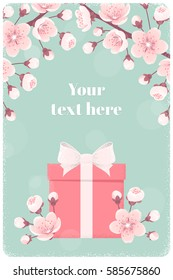 Vertical template with pink gift box, cherry blossom, spring flowers. Retro vector illustration. Bokeh background. Place for your text. Invitation, banner, card, poster, flyer, gift certificate