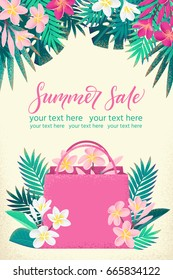 Vertical template with shopping paper bag, palm leaves, pink, white frangipani flowers. Retro vector illustration. Summer sale lettering. Invitation, banner, poster, flyer, gift certificate