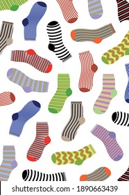 Vertical texture striped socks. Multi-colored striped socks on a white background. Fabric effect. Design element. Vector illustration.