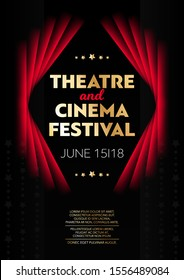 Vertical theatre and cinema festival background with red curtains, graphic elements and text. Vector illustration.