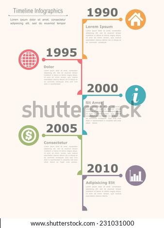 vertical timeline infographics design template vector のベクター