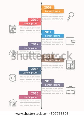 Vertical Timeline Infographics Template Workflow Process Stock - Workflow process template