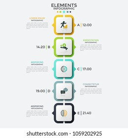 Vertical timeline or schedule, 5 square elements with thin line symbols inside and arrows pointing at time and description. Creative infographic design template. Vector illustration for presentation.
