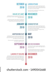 Vertical timeline template with six elements, infographic template for web, business, presentations, workflow or process diagram, vector eps10 illustration