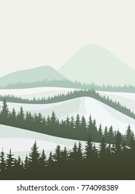 Vertical vector abstract illustration of snowy coniferous forest valley with mountains.
