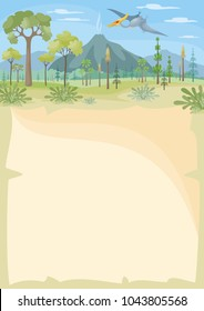 Vertical vector background with the image of a prehistoric landscape and pterosaur. Colorful illustration in cartoon style.