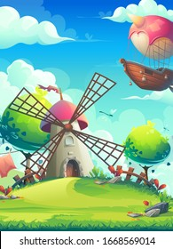 Vertical vector cartoon background mill among trees on a hill and an airship flying in the clouds. Bright background image to create original video or web games, graphic design, screen savers.