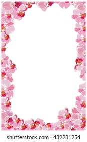 Vertical vector frame with pink orchids