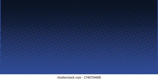 Vertical vector gradient deep dark blue comic pop-art halftone background template, texture. Vector illustration Geometric vintage monochrome fade wallpaper. Pop art print. Dotted retro pattern.
