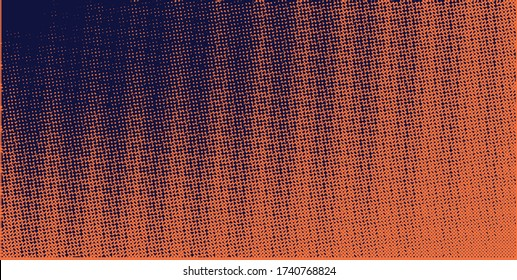 Vertical vector gradient pastel retro navy blue and orange  pop-art halftone background template, texture. Illustration Geometric vintage monochrome fade wallpaper. Pop art print. Dotted pattern.