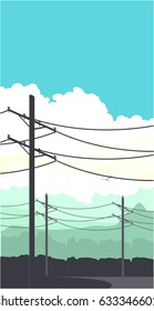 Vertical vector illustration of power lines poles