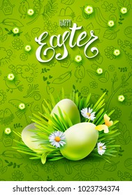 Vertical vector poster with realistic eggs, chamomiles, grass . Handwriting inscription Happy Easter. Green background with hand drawn holidays doodles. Lettering, calligraphy.