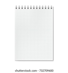 vector realistic quadrille graph ruled notebook stock vector